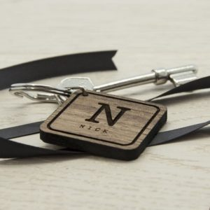 Square Wooden Key Ring - Initial and Name