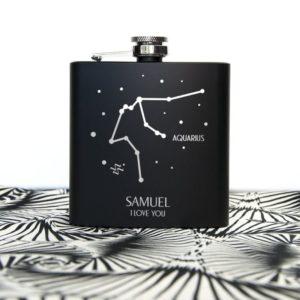 Star Constellation Matte Black Hip Flask