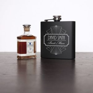 Thank You For Being My Best Man Black Matte Hip Flask