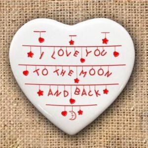 To the Moon and Back Heart Keepsake