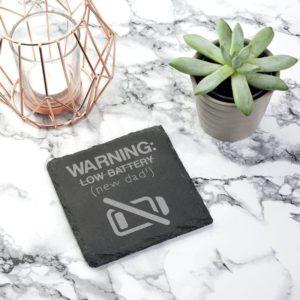 Warning: New Dad Square Slate Keepsake (Non Personalised Gift)