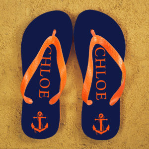 Anchor style Personalised Flip Flops in Blue and Orange