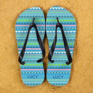 Aztec style Personalised Flipflops in Blue