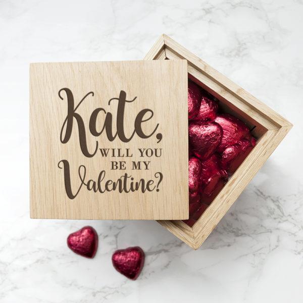 Personalised Be My Valentine Oak Photo Cube