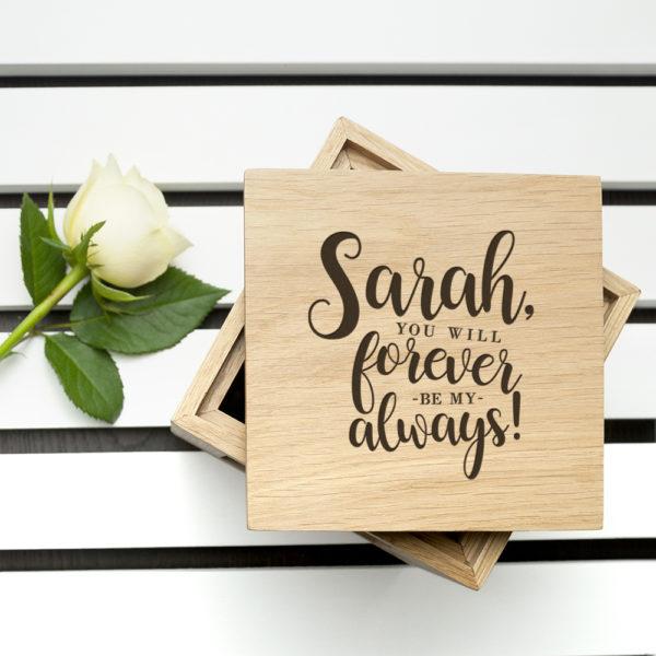 Personalised Forever My Always Oak Photo Cube