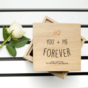 Personalised Infinite Love Oak Photo Cube