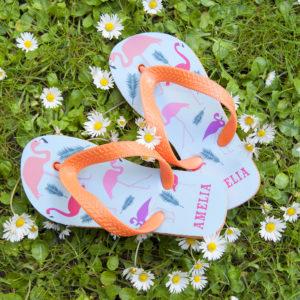 Fabulous Flamingos Child's Personalised Flop Flops