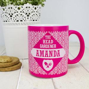 Floral Patterned Head Gardener Coloured Mug