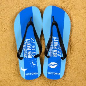 Hen Party Personalised Flip Flops in Light Blue