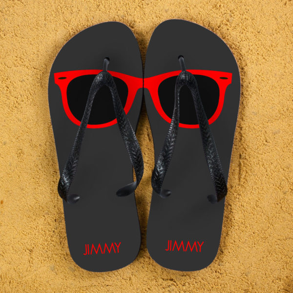 Holiday Style Personalised Flip Flops in Grey and Red