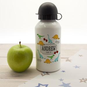 Jurassic Fun Silhouette Personalised Water Bottle