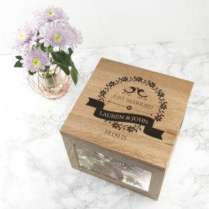 Love Birds' Oak Photo Keepsake Box