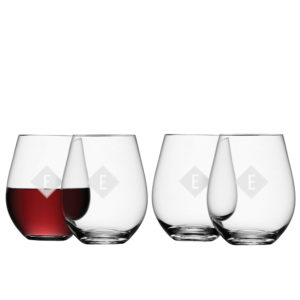 LSA Monogrammed Stemless Red Wine Glass