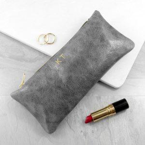 Luxury Slimline Leather Clutch in Stone Grey