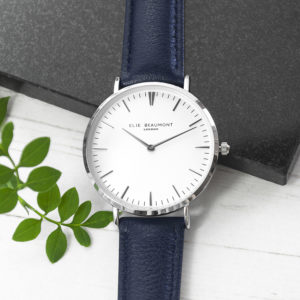 Modern - Vintage Personalised Leather Watch In Navy & Silver