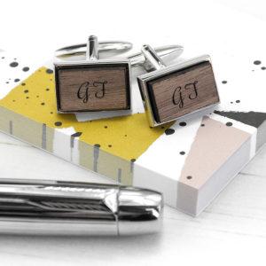 Monogram Engraved Rectangle Walnut Cufflinks