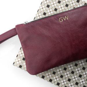 Monogrammed Burgundy Leather Clutch Bag