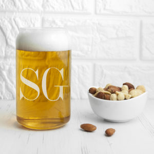 Monogrammed Can Glass