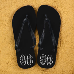Monogrammed Flip Flops in Black and White