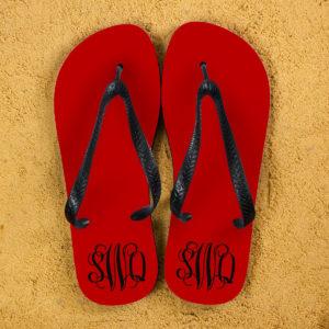 Monogrammed Flip Flops in Red and Grey