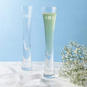 Monogrammed LSA Champagne Flutes Set of  2