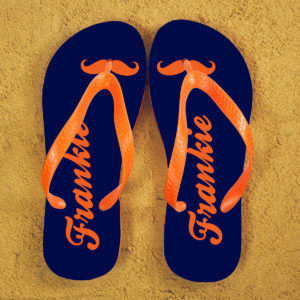 Moustache Style Personalised Flip Flops in Blue and Orange