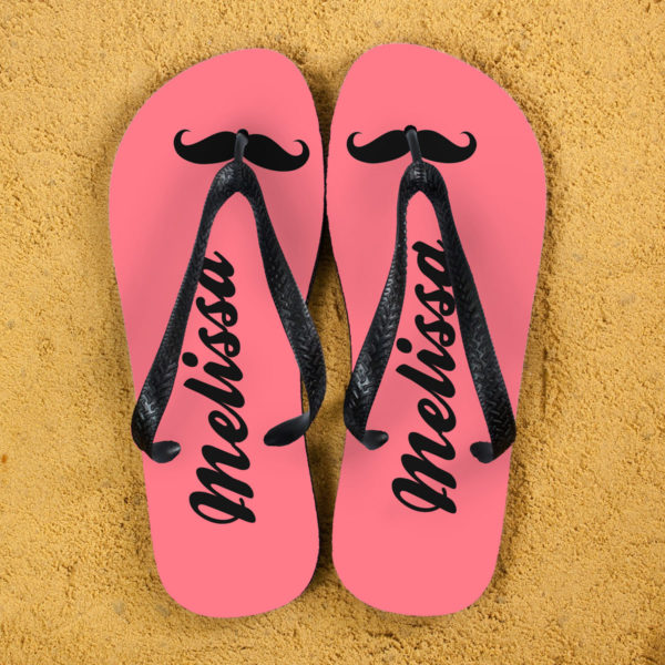 Moustache Style Personalised Flip Flops in Pink