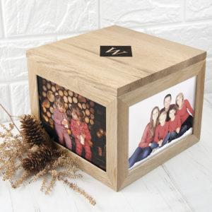 Oak Photo Keepsake Box with Initials