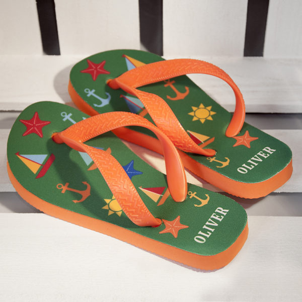 All The Fun At The Beach Child's Personalised Flip Flops In Green