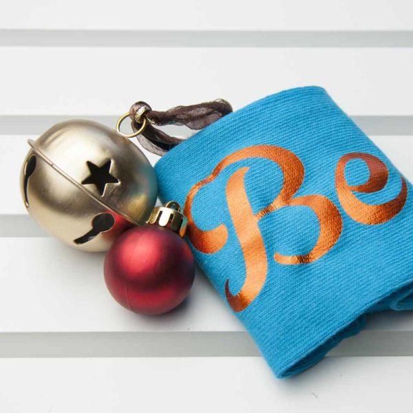 Personalised Turquoise & Terracotta Orange Christmas Day Socks