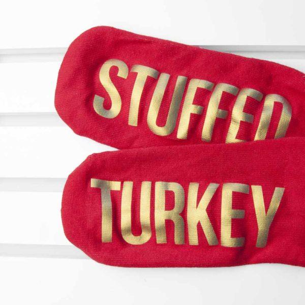 Personalised Crimson & Gold Christmas Day Socks