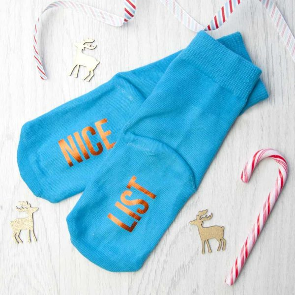 Personalised Kids Turquoise & Terracotta Orange Christmas Day Socks