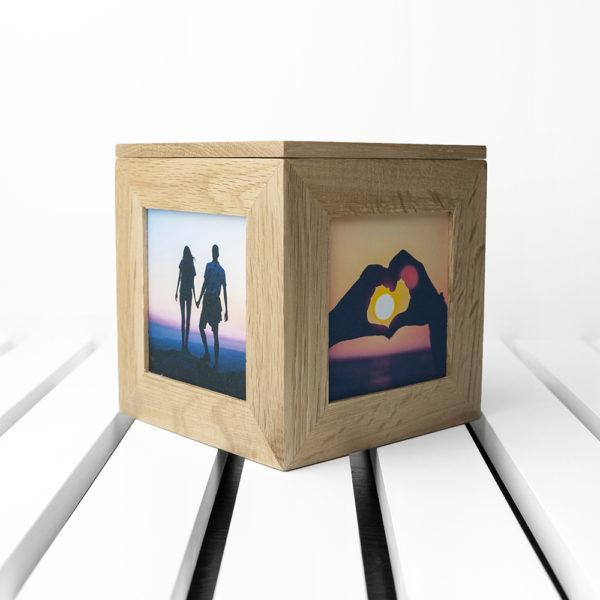 Personalised Heart Venn Diagram Oak  Photo Cube