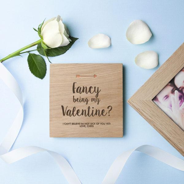Personalised Fancy Being My Valentine? Oak Photo Cube