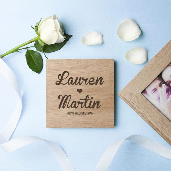 Personalised Couple's Names Oak Photo Cube