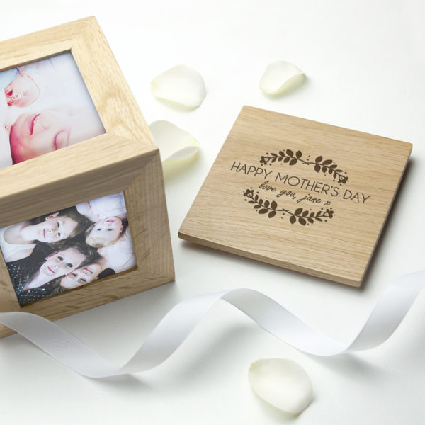 Personalised Happy Mother's Day Oak Photo Cube