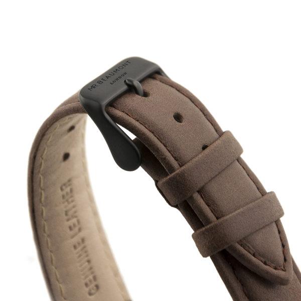 Men's Modern-Vintage Personalised Watch With Black Face in Brown