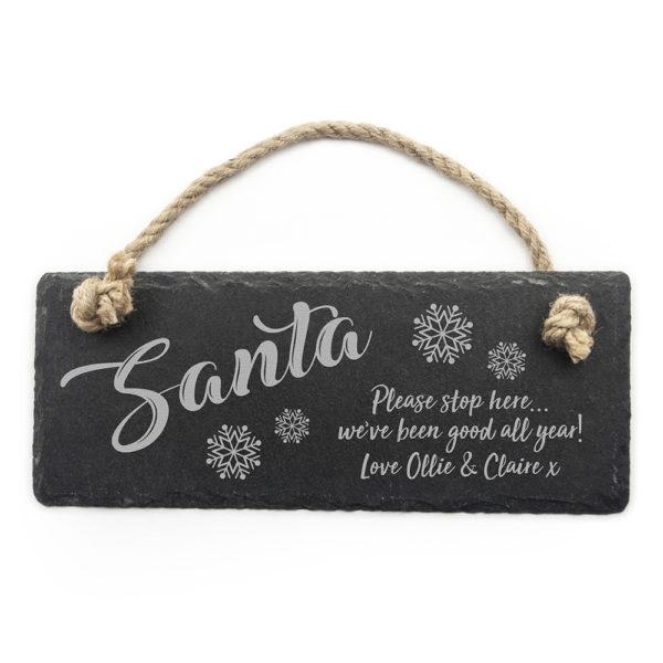 Personalised Santa Please Stop Here Slate Hanging Sign