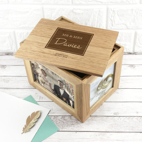 Personalised Contemporary Mr & Mrs Midi Oak Photo Cube Keepsake Box
