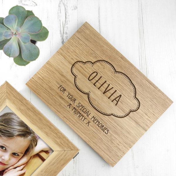 Personalised Baby Name In Cloud Midi Oak Photo Cube Keepsake Box