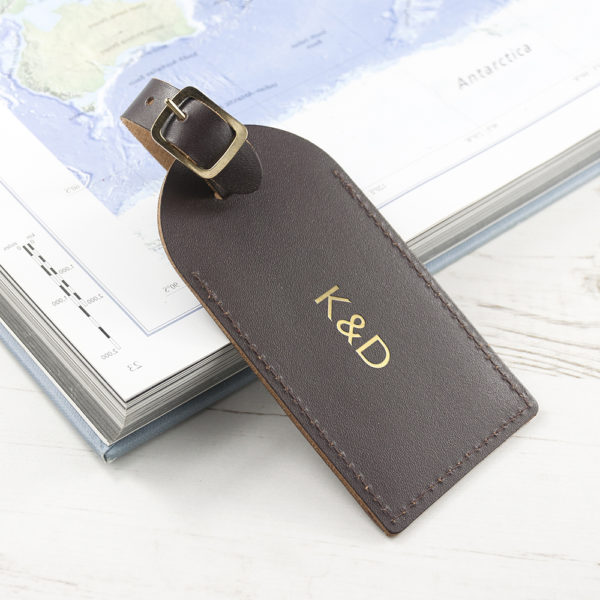 Personalised Brown Foiled Leather Luggage Tag