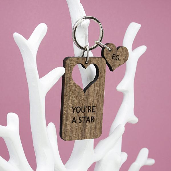 Personalised Heart Shape Walnut Keyring