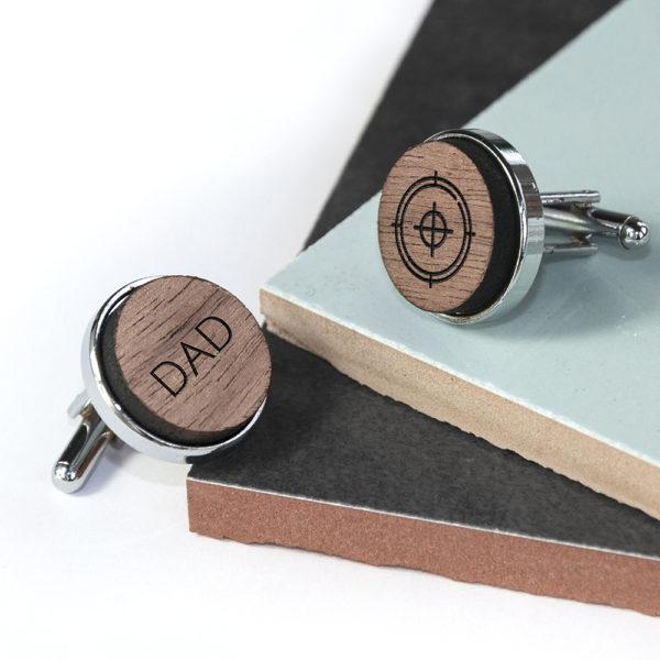 Iconic Hobbies Engraved Round Walnut Cufflinks