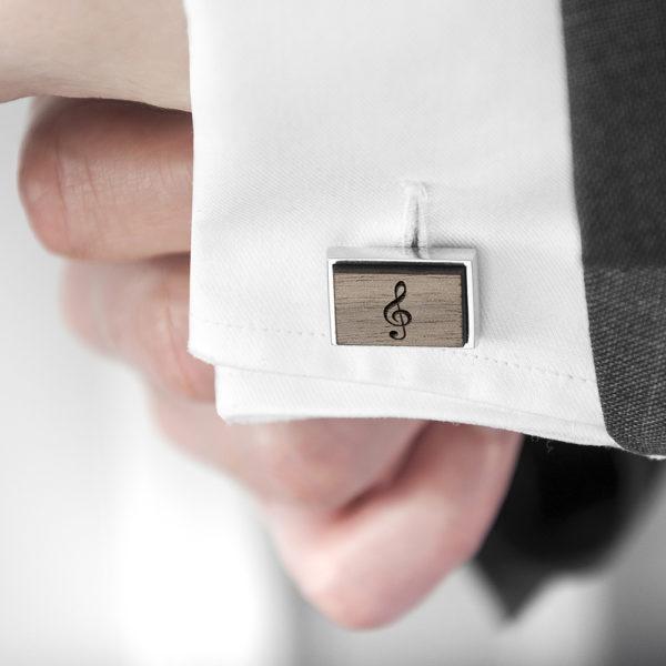 Iconic Hobbies Engraved Rectangle Walnut Cufflinks