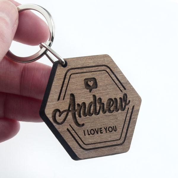 Personalised 'I Love You' Engraved Keyring