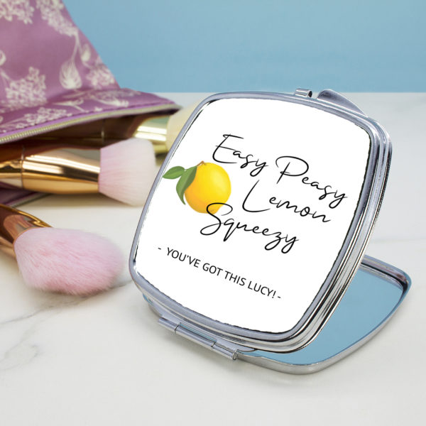 Easy Peasy Lemon Squeezy Square Compact Mirror