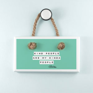 Kind People (Green) White Hanging Sign