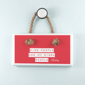 Kind People (Red) White Hanging Sign