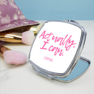 Actually I Can Handwritten Square Compact Mirror