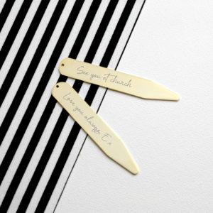 Personalised Handwriting Collar Stiffeners - Gold